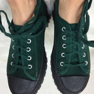 Passports green suede and black lace up sneakers